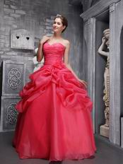 Coral Red Floor Length Dress For 15th Quinceanera Party