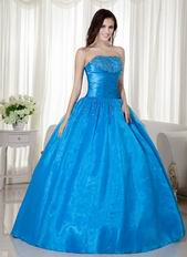Azure Blue Puffy Dress to 2018 Winter Quinceanera Party Wear