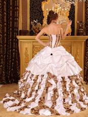 White And Leopard Printed Ruffle Skirt La Quinceanera Dress
