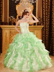 Discount Dama Quinceanera Dress With Ruffled Apple Green Skirt