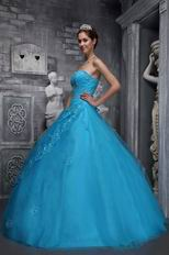 Corset Back Azure Blue Quinceanera Dress For Girl