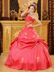 Coral Pink Girl Quinceanera Dress With Golden Applique