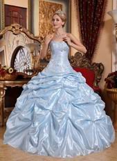 Baby Blue Embroidered Quinceanera Dress With Picks up Details