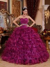 Sweetheart Purple Ruffle Layers Dress To Quinceanera Wear