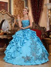 Sky Blue Ruffled Skirt With Sequin Quinceanera Winter Dress