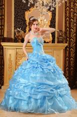 Hand Made Light Blue Dresses For Girl Quinceanera Party