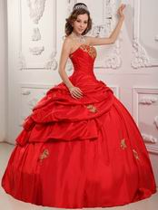 Red Evening Ball Gown With Golden Applique Decorate
