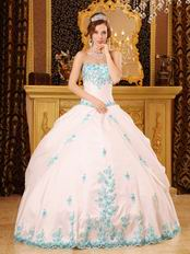White Quinceanera Dress With Blue Appliques Dentate Bottom