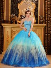 Stylish Gradually Changing Fading Contrast Color Quinceanera Dress