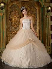 Appliqued Dentate Bottom Quinceanera Dress With Handmade Flower