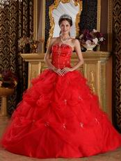 Dark Red V-shaped Ball Gown Floor Length Quinceanera Dress