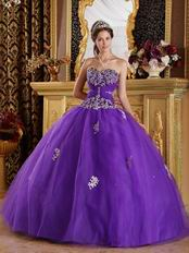 Appliqued Top Designer Floor Length Ball Dress To Quinceanera