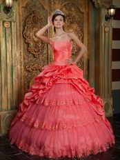 Embroidery Layers Skirt Quinceanera Ball Gown In Watermelon