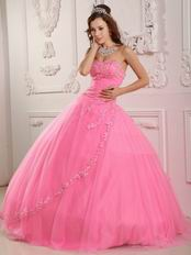 Pink Sweetheart Appliqued Edge Quinceanera Dress Online