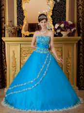 Appliqued Dentate Bottom Embroidery Azure Quinceanera Dress