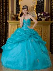 Sweetheart Neckline Teal Blue Floor Length Quinceanera Gown