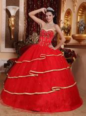 Red Sweetheart Quinceanera Dress Layers Skirt With Gold Bordure