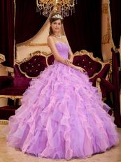 Pretty Lilac And Pink Ruffle Skirt Dress To Girl Quinceanera Party