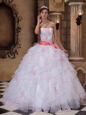 Ruffed White Organza Skirt Quinceanera Dress With Embroidery