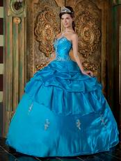 Sweetheart Dodger Blue Taffeta Quinceanera Dress By Designer
