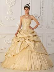 Side Applique Champagne Handmade Quinceanera Dress to Girl