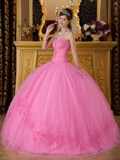 Best Deals Pink Quinceanera Gown With Embroidered Skirt Bottom