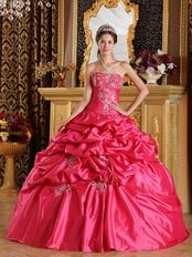 Embroidered Pick-ups Deep Rose Pink Quinceanera Gown Cheap