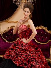 6c432f407e Zebra Printed Fabric Girls Wear Quinceanera Dress 2014