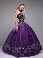 Embroidered Stars 2014 Designer Eggplant Quinceanera Dress