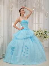 Ligh Aqua Blue Floor Length Young Girl Quinceanera Dress