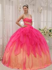 Hot Pink Cascade Putty Skirt Orange Quinceanera Dress 2019