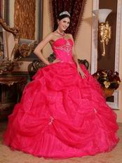 Deep Pink Sweetheart Puffy Quinceanera Dress By Designer