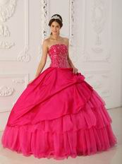 2014 Inexpensive Deep Pink Dress For Quinceanera Party