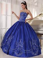 Inexpensive Royal Blue Strapless Embroidered Quinceanera Dress