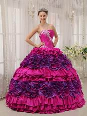 2014 Strapless Fuchsia Quinceanera Dress With Rolling Flowers