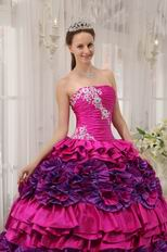 Strapless Fuchsia Quinceanera Dress With Rolling Flowers On Skirt