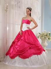 Deep Pink Trimed Designer Quinceanera Dress With Applique