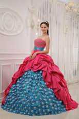 Strapless Appliqued Rose Pink Quinceanera Gown With Beading