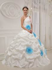 Single One Shoulder Ivory Quinceanera Dress With Aqua Flower