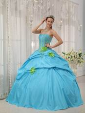 Strapless Dama Quinceanera Dress With Spring Green Flower