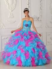 Strapless Hot Pink And Aqua Ruffle Skirt Quinceanera Gown