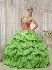 Spring Green Puffy Skirt Best Quinceanera Dress Clearance