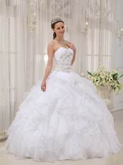 Sweetheart Puffy Cascade Skirt White Discount Quinceanera Dress