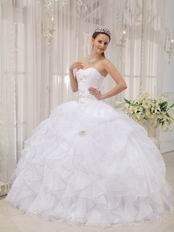 Puffy Cascade Skirt White Discount Quinceanera Dress