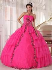 Deep Pink Organza Paillette Puffy Skirt Quinceanera Girls Dress