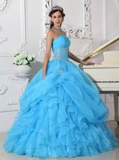 Aqua Blue Puffy Skitr Quinceanera Dresses Gowns For Cheap
