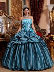 Light Sky Blue Quinceanera Dress With Hand Made Flower