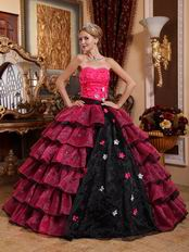 Cerise And Black Layers Skirt Trimed Dress To 2014 Quinceanera