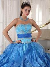 Muliti Blue Organza Fabric Clearance Designer Dress For Cheap