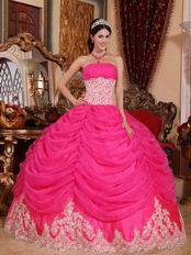Appliqued Bottom Skirt Hot Pink Quinceanera Party Gown